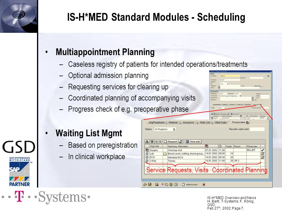 IS-H*MED Standard Modules - Scheduling