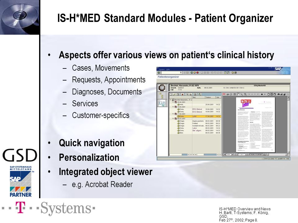 IS-H*MED Standard Modules - Patient Organizer