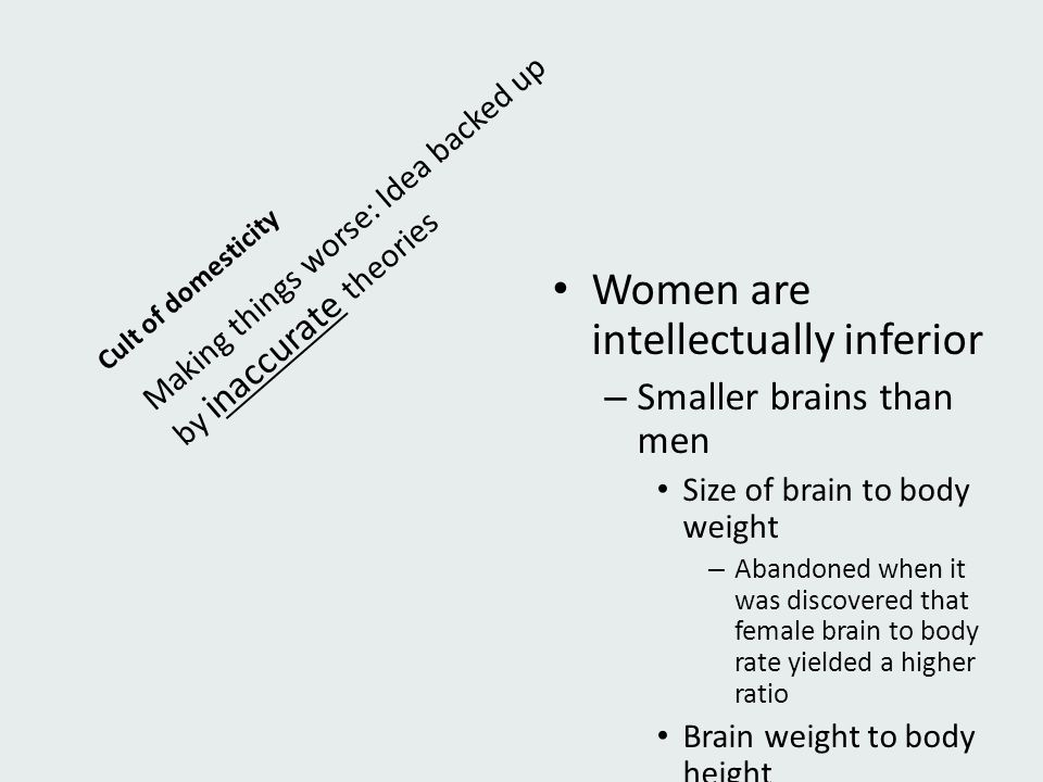 Women are intellectually inferior