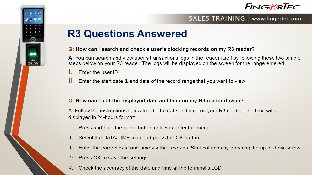 R3 Questions Answered Q: How can I search and check a user's clocking records on my R3 reader