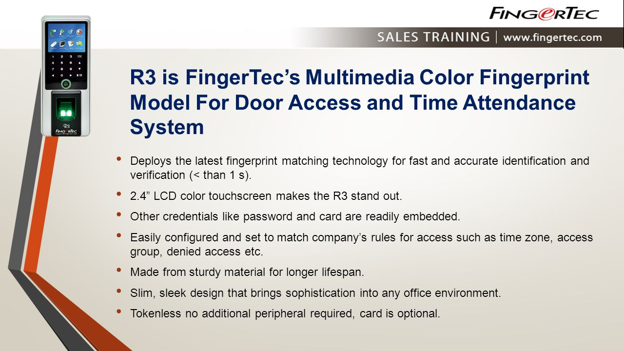 R3 is FingerTec's Multimedia Color Fingerprint Model For Door Access and Time Attendance System