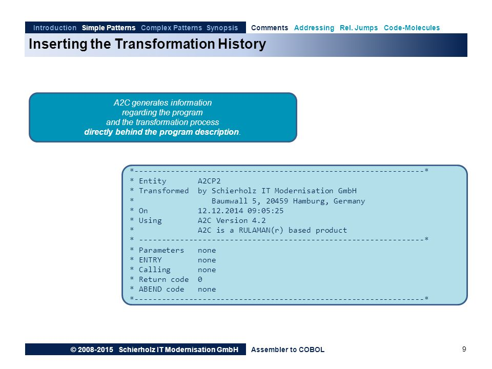 Inserting the Transformation History