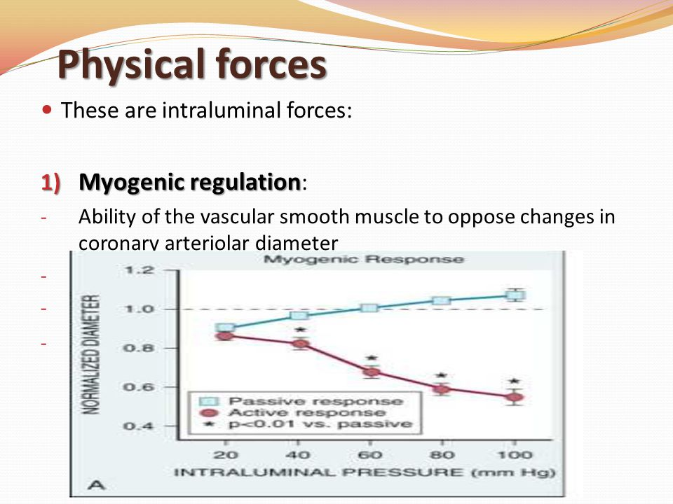 Physical forces Myogenic regulation: These are intraluminal forces: