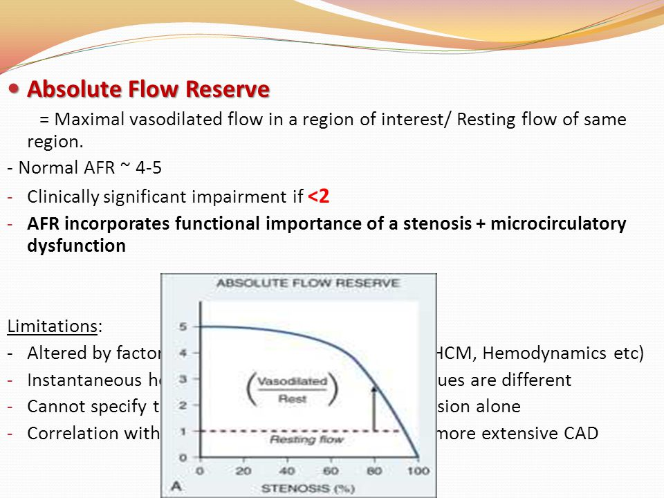 Absolute Flow Reserve = Maximal vasodilated flow in a region of interest/ Resting flow of same region.