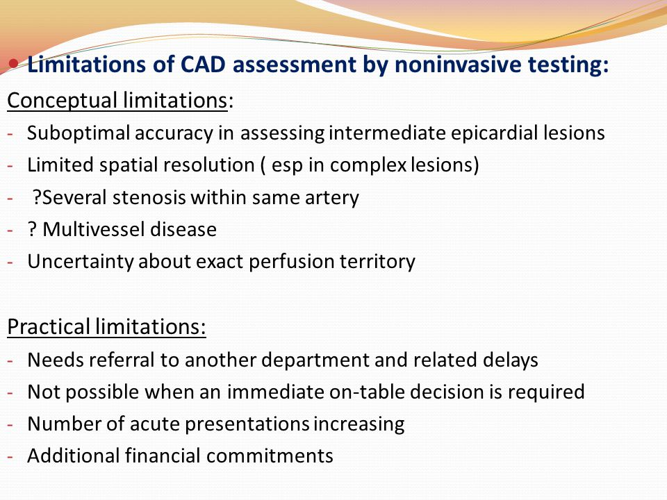 Limitations of CAD assessment by noninvasive testing: