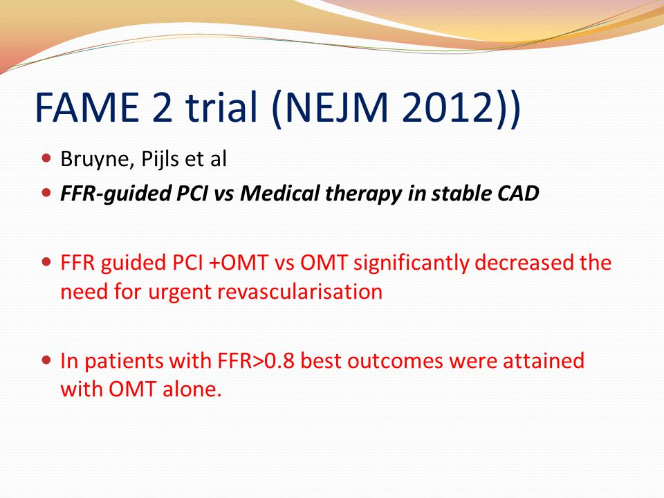 FAME 2 trial (NEJM 2012)) Bruyne, Pijls et al
