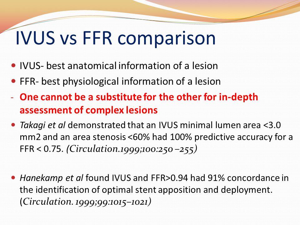 IVUS vs FFR comparison IVUS- best anatomical information of a lesion
