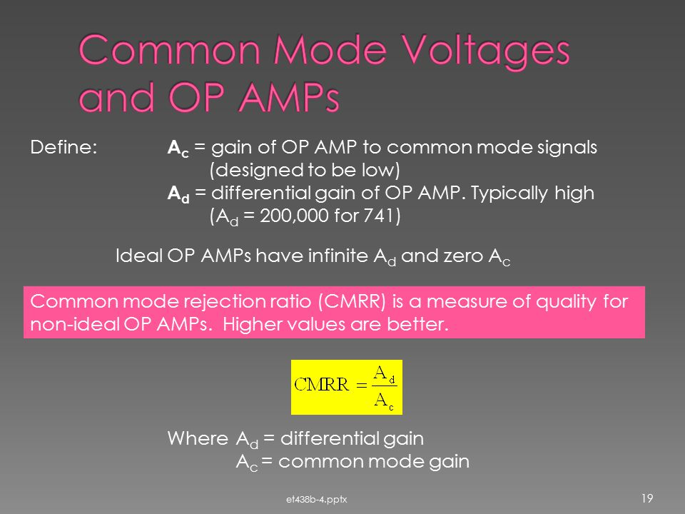 Common Mode Voltages and OP AMPs