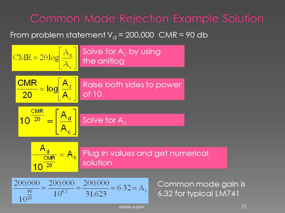 Common Mode Rejection Example Solution