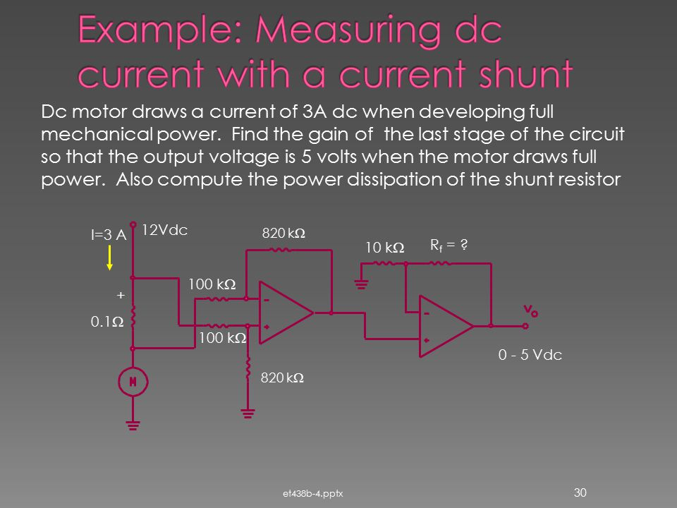 Example: Measuring dc current with a current shunt