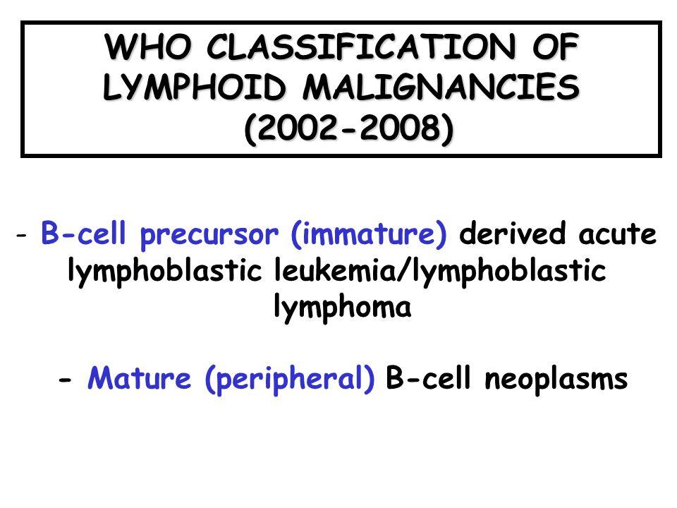 WHO CLASSIFICATION OF LYMPHOID MALIGNANCIES (2002-2008)