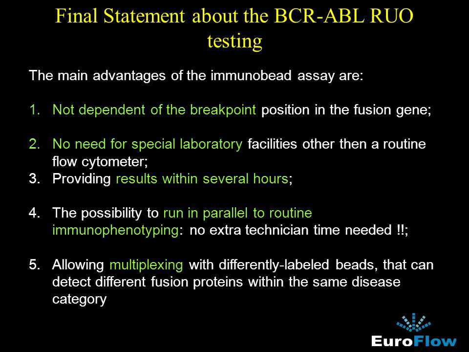 Final Statement about the BCR-ABL RUO testing