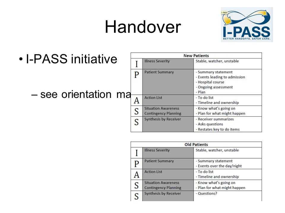 Handover I-PASS initiative see orientation manual
