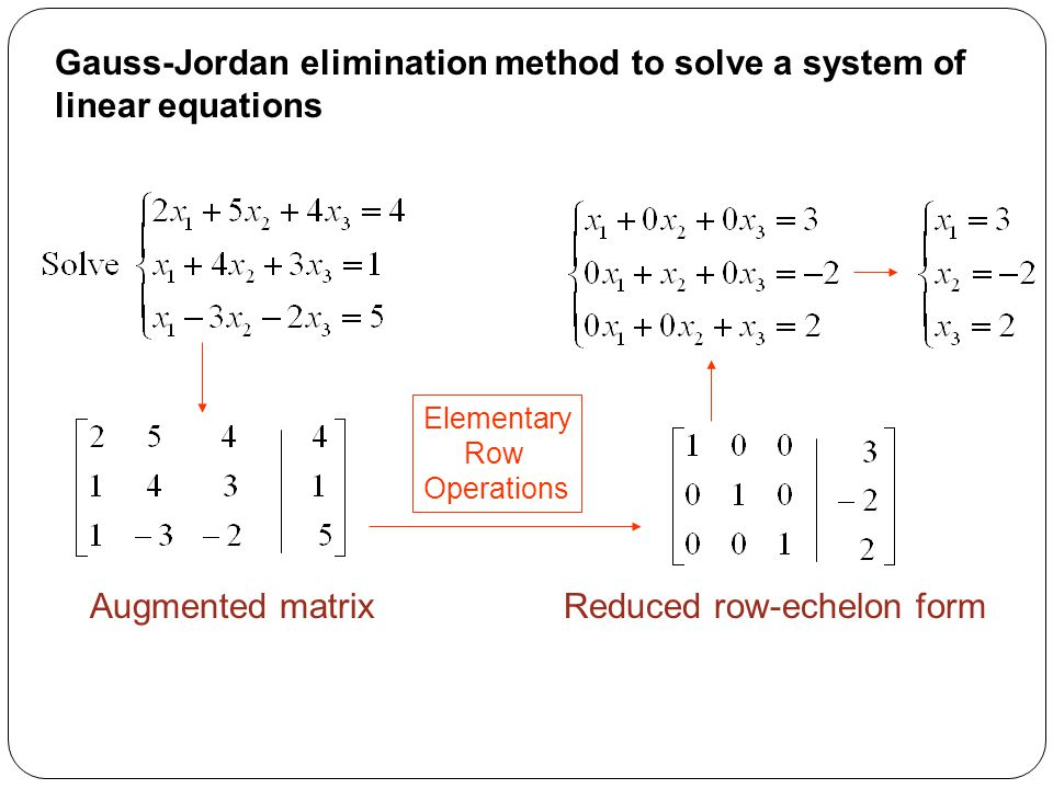 Gauss-Jordan elimination method to solve a system of linear equations