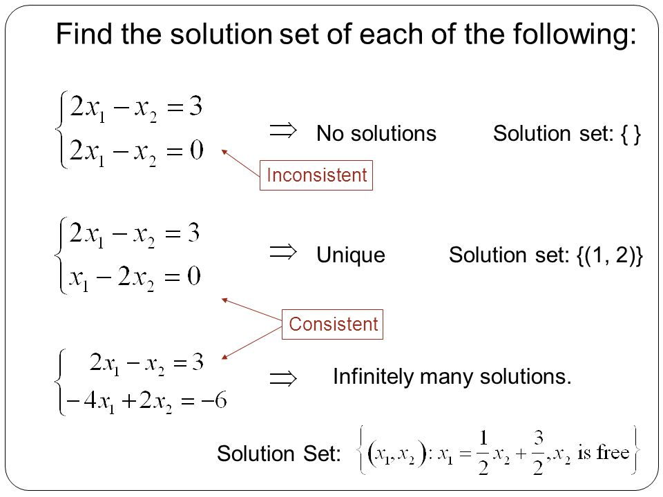 Find the solution set of each of the following:
