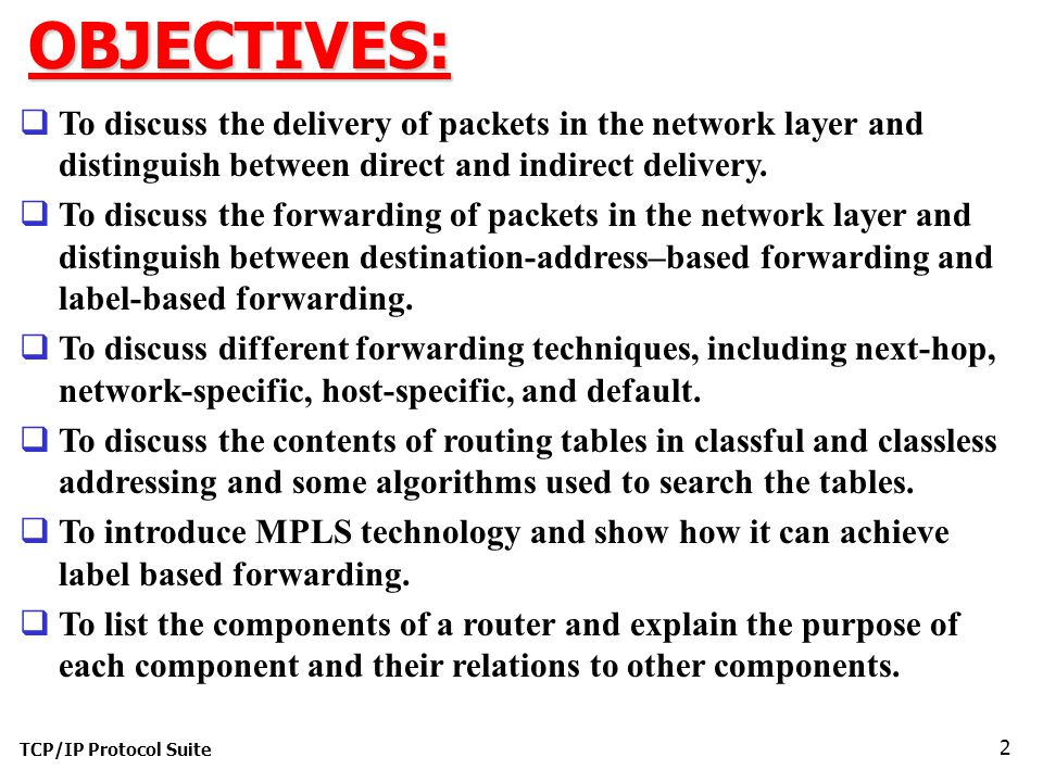 OBJECTIVES: To discuss the delivery of packets in the network layer and distinguish between direct and indirect delivery.