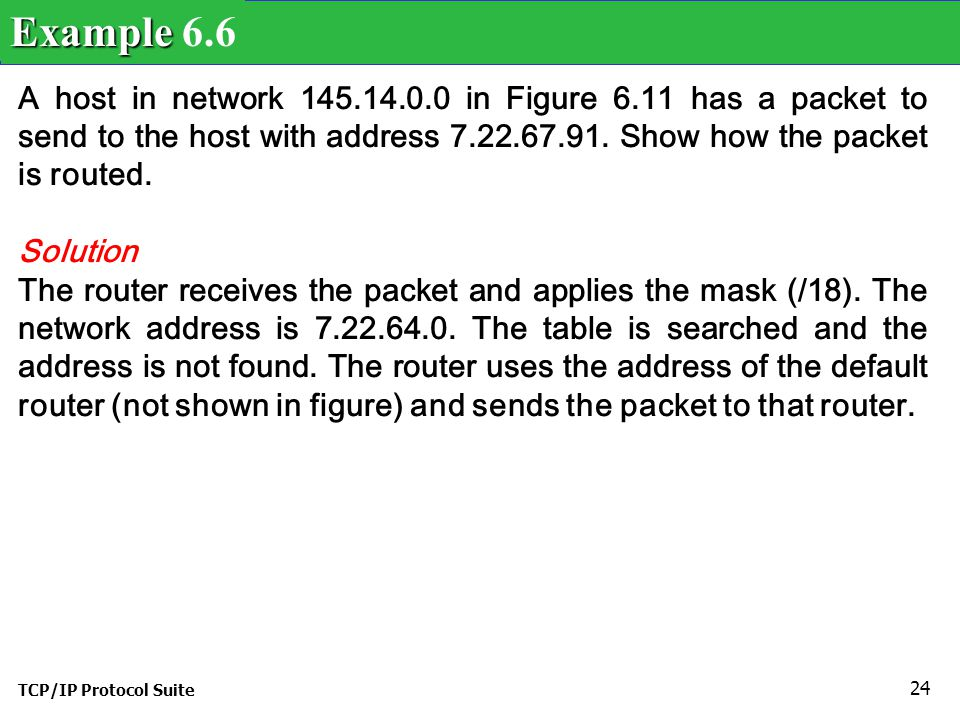 Example 6.6 A host in network 145.14.0.0 in Figure 6.11 has a packet to send to the host with address 7.22.67.91. Show how the packet is routed.