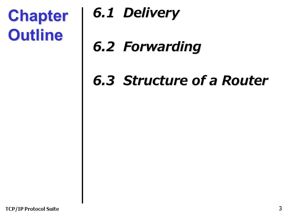 Chapter Outline 6.1 Delivery 6.2 Forwarding 6.3 Structure of a Router