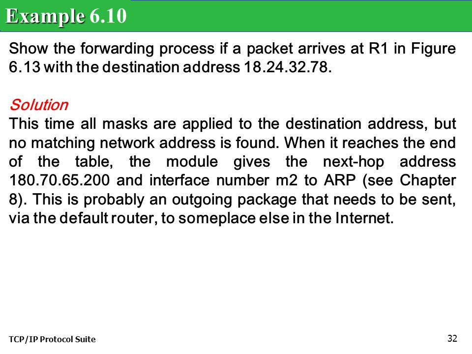 Example 6.10 Show the forwarding process if a packet arrives at R1 in Figure 6.13 with the destination address 18.24.32.78.