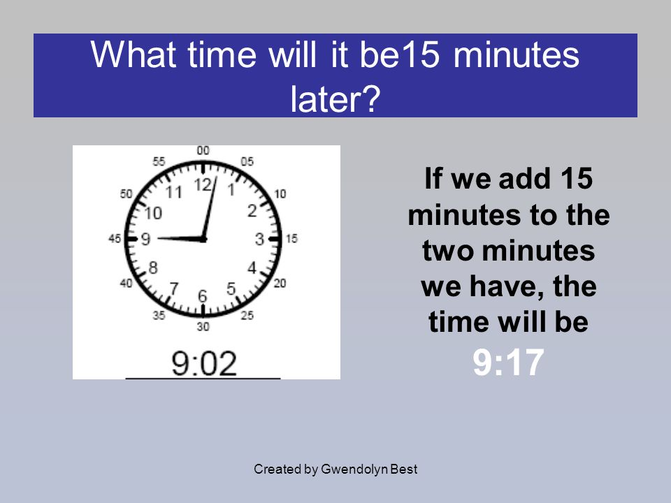 What time will it be15 minutes later