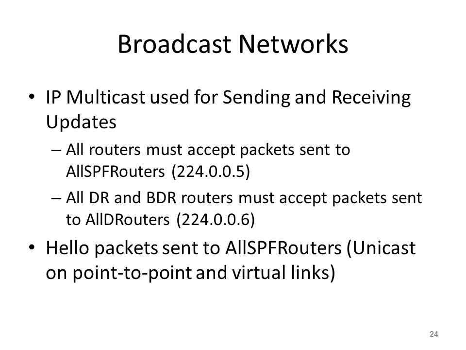 Broadcast Networks IP Multicast used for Sending and Receiving Updates