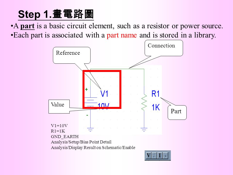 Step 1.畫電路圖 A part is a basic circuit element, such as a resistor or power source.