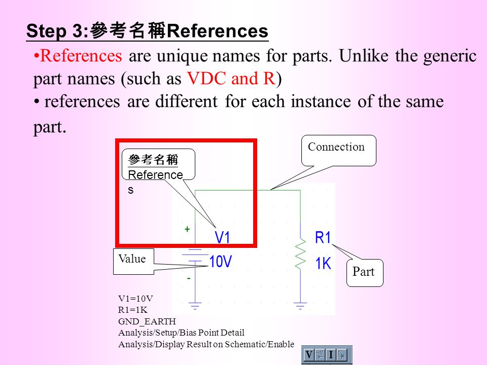 references are different for each instance of the same part.