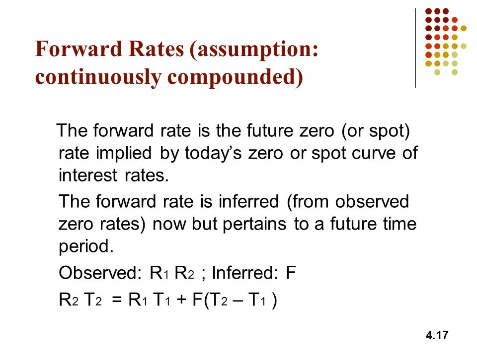 Forward Rates (assumption: continuously compounded)