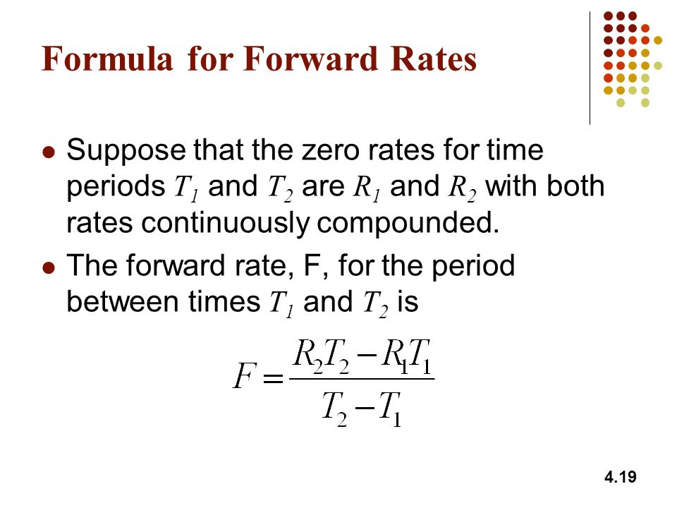 Formula for Forward Rates