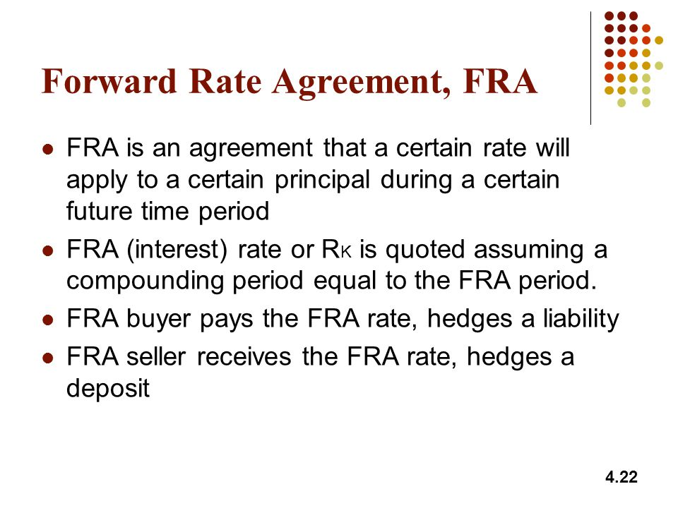 Forward Rate Agreement, FRA