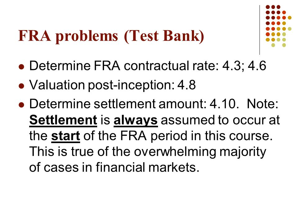 FRA problems (Test Bank)
