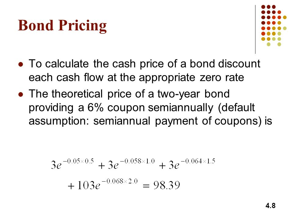 Bond Pricing To calculate the cash price of a bond discount each cash flow at the appropriate zero rate.