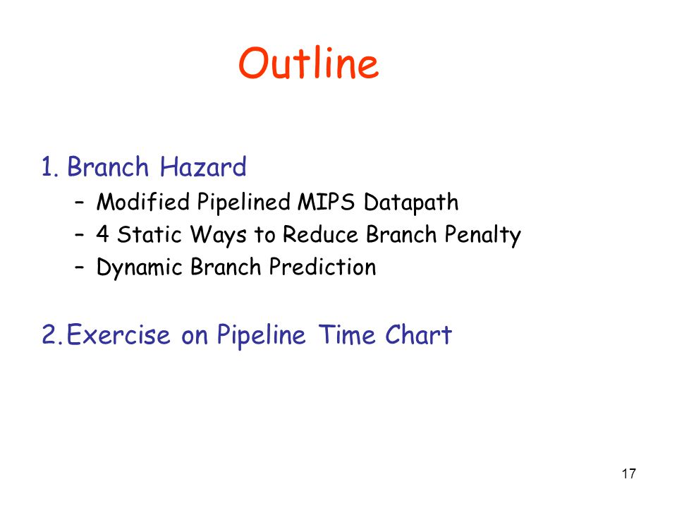 Outline Branch Hazard Exercise on Pipeline Time Chart