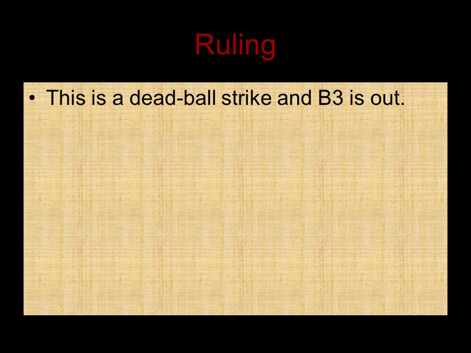 Ruling This is a dead-ball strike and B3 is out.