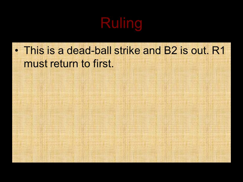 Ruling This is a dead-ball strike and B2 is out. R1 must return to first.