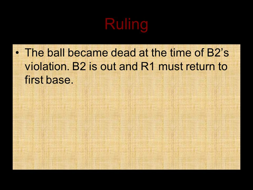Ruling The ball became dead at the time of B2's violation.