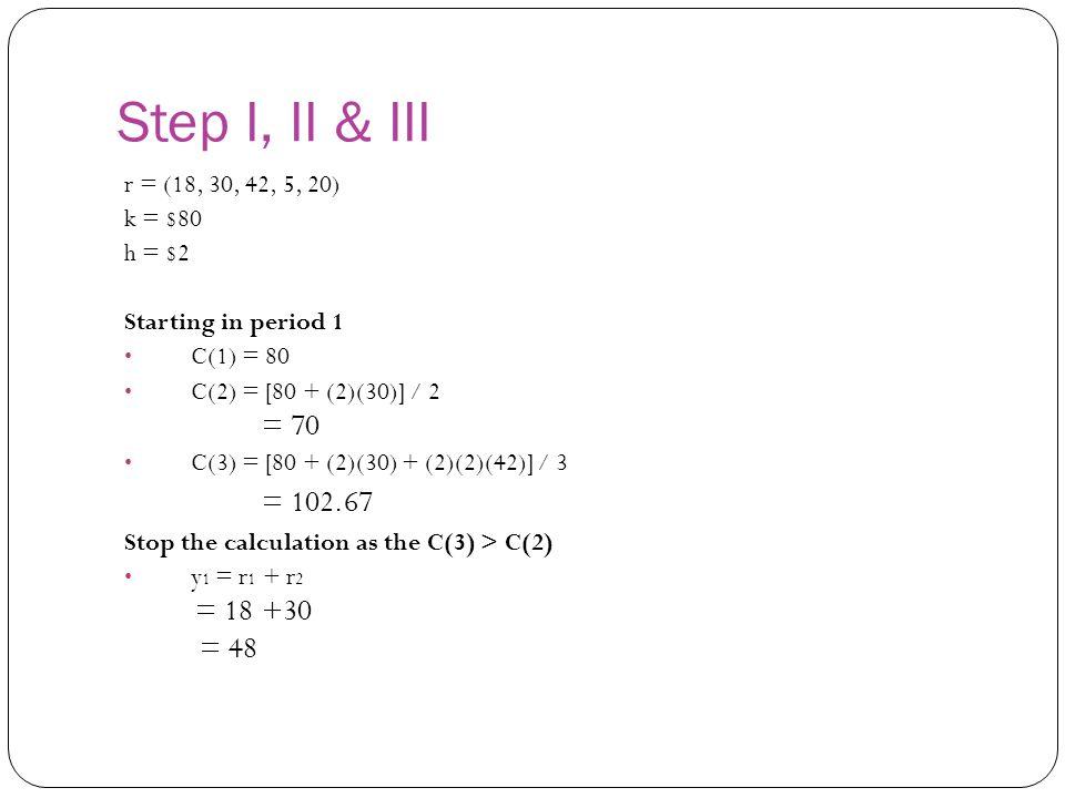 Step I, II & III = 70 = 102.67 = 48 r = (18, 30, 42, 5, 20) k = $80
