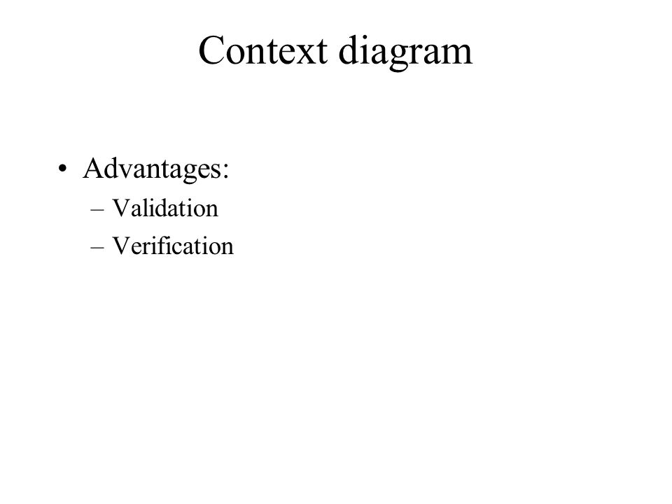 Context diagram Advantages: Validation Verification