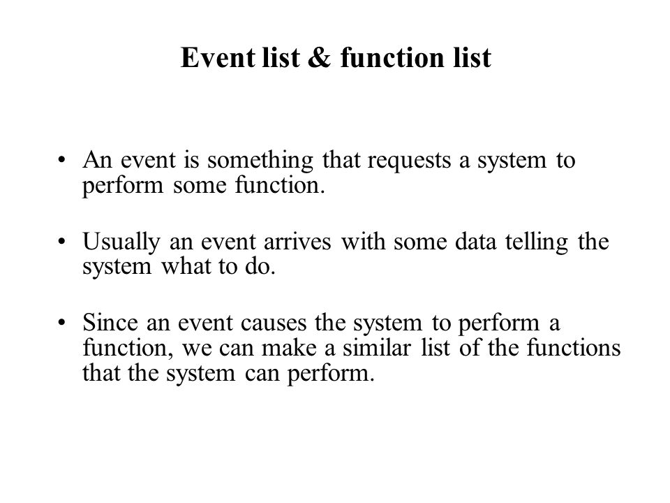 Event list & function list