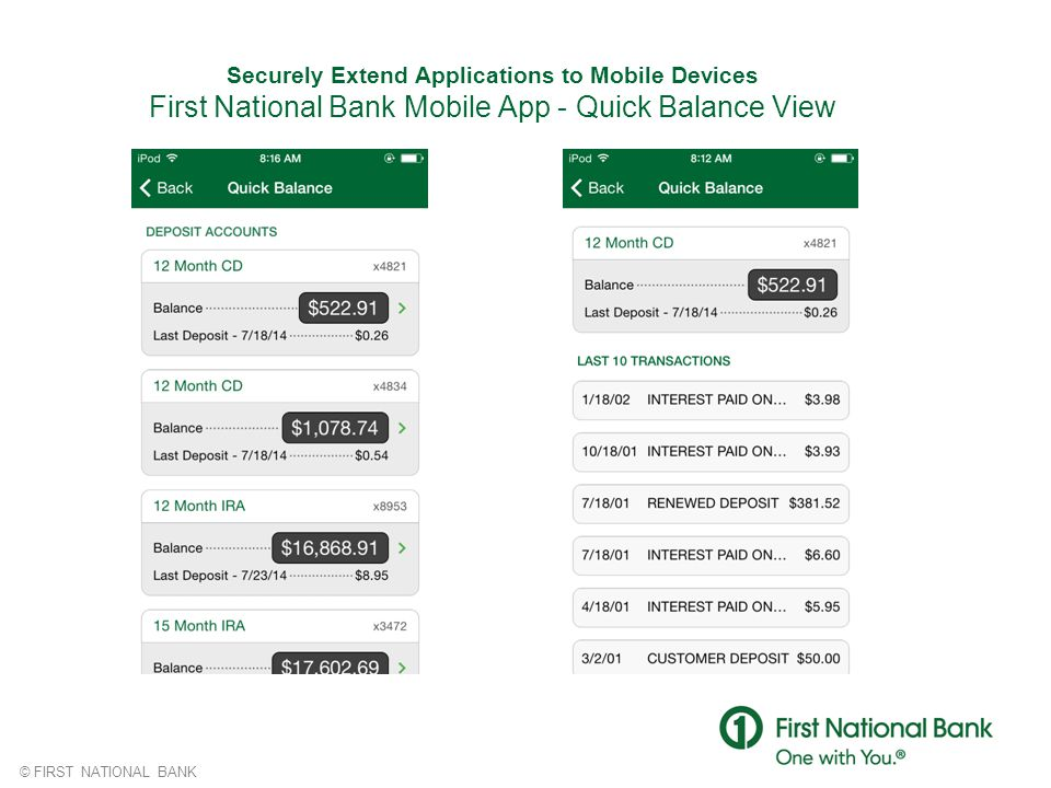 Securely Extend Applications to Mobile Devices First National Bank Mobile App - Quick Balance View