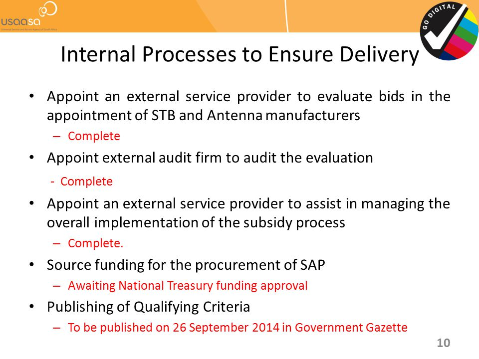 Internal Processes to Ensure Delivery