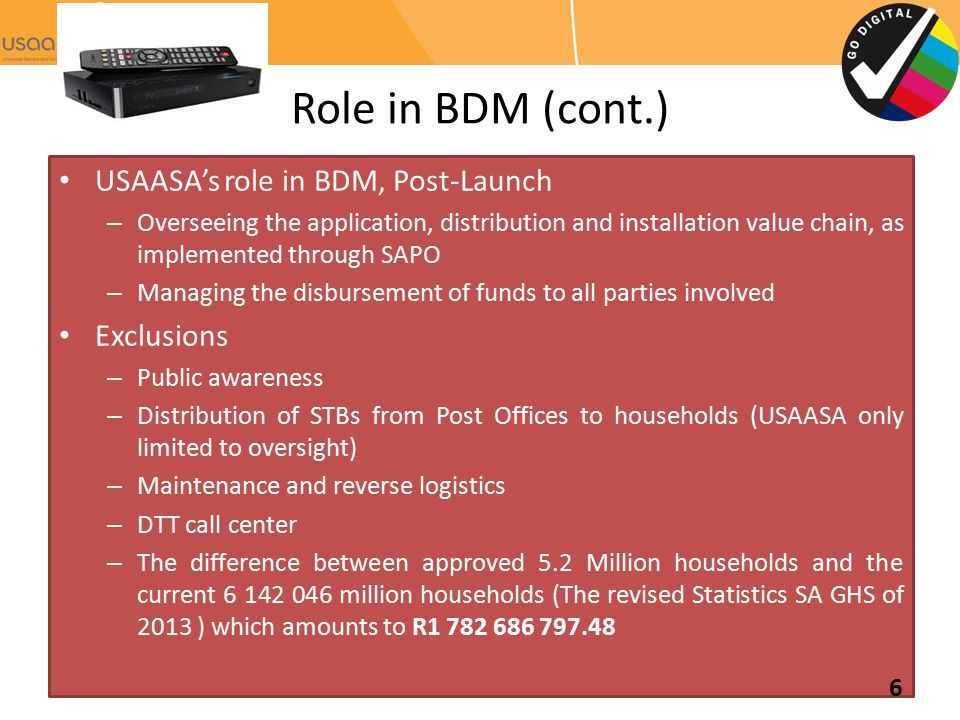 Role in BDM (cont.) USAASA's role in BDM, Post-Launch Exclusions