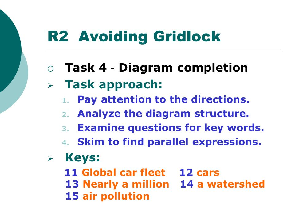 R2 Avoiding Gridlock Task 4-Diagram completion Task approach: Keys: