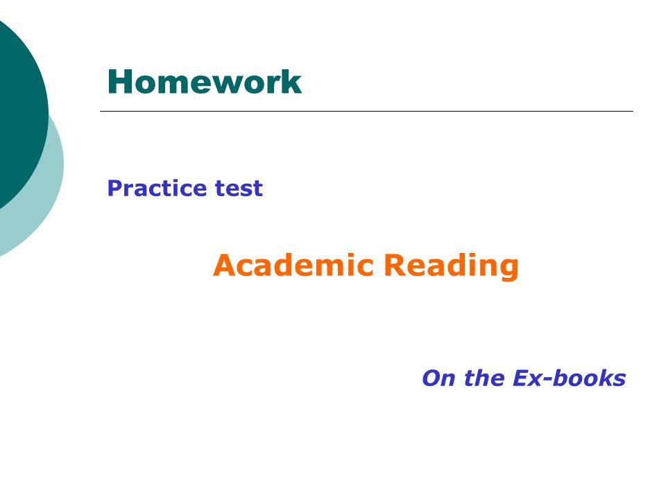 Homework Practice test Academic Reading On the Ex-books
