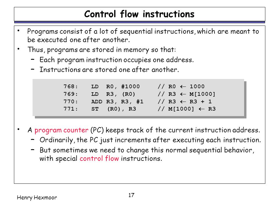 Control flow instructions