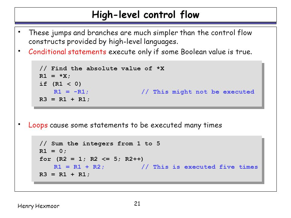 High-level control flow