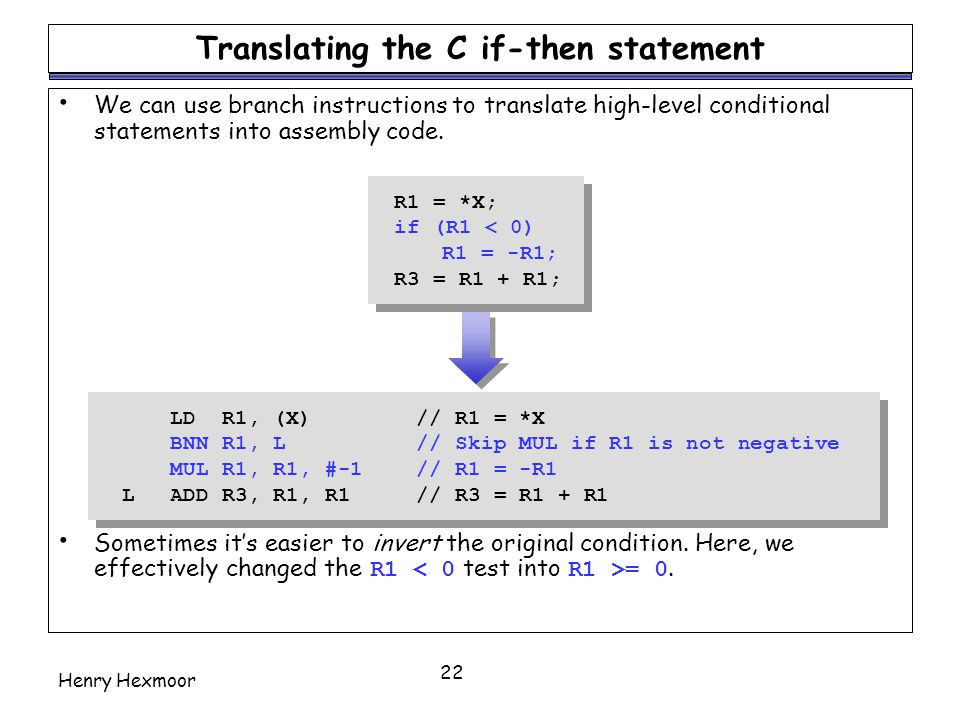 Translating the C if-then statement