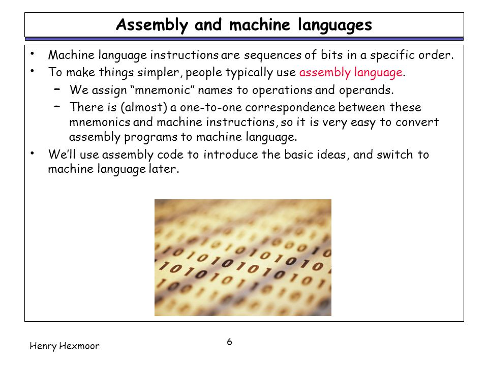 Assembly and machine languages
