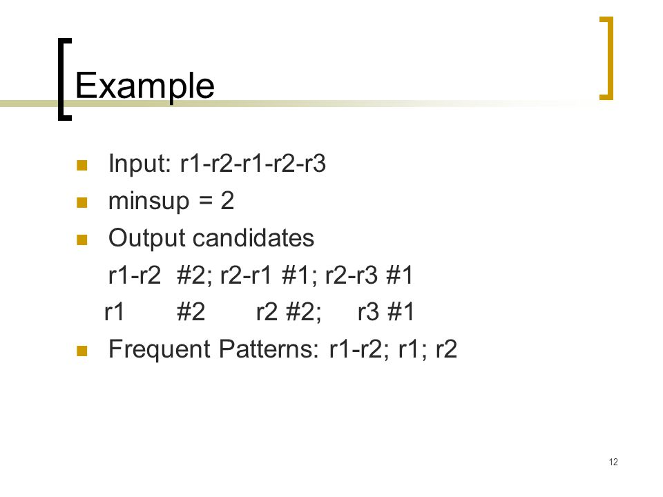 Example Input: r1-r2-r1-r2-r3 minsup = 2 Output candidates