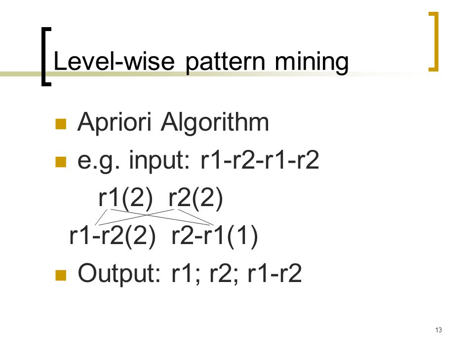 Level-wise pattern mining